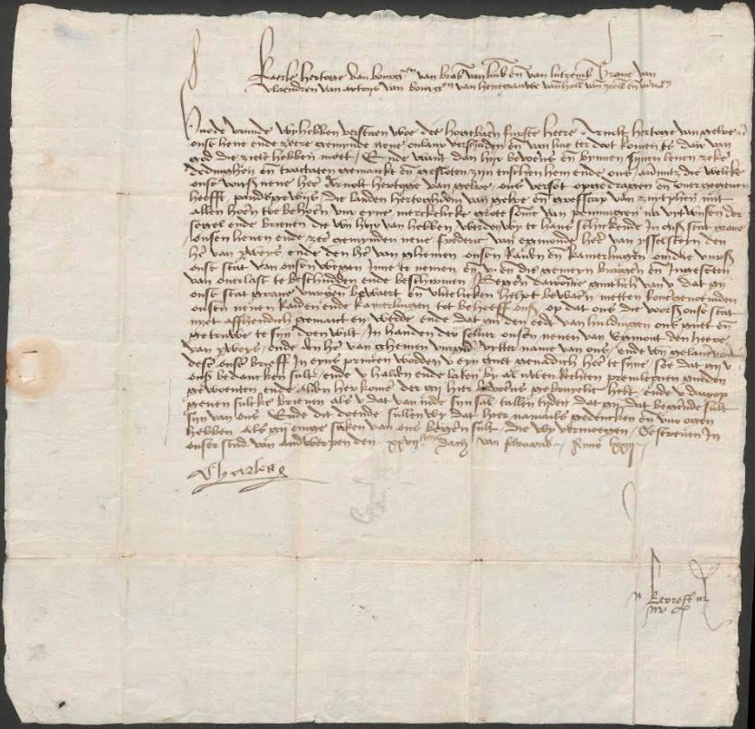 Brief, geschreven door Karel de Stoute, hertog van Bourgondië, waarin hij zich voorstelt als de nieuwe heer van het vestingstadje. (Stadsbestuur Grave, 1290-1810, collectie BHIC)