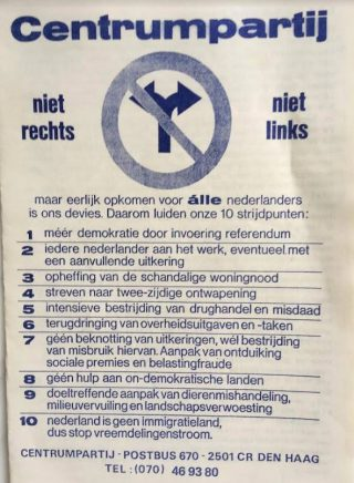 Folder Centrumpartij voor de deelraadsverkiezingen in Rotterdam, 1984