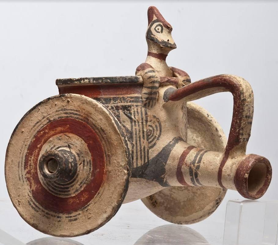 Terracotta strijdwagen, Cypro-Archaïsch, 750-450 v.Chr., h. 18 cm. Collectie Cyprus Museum, Nicosia