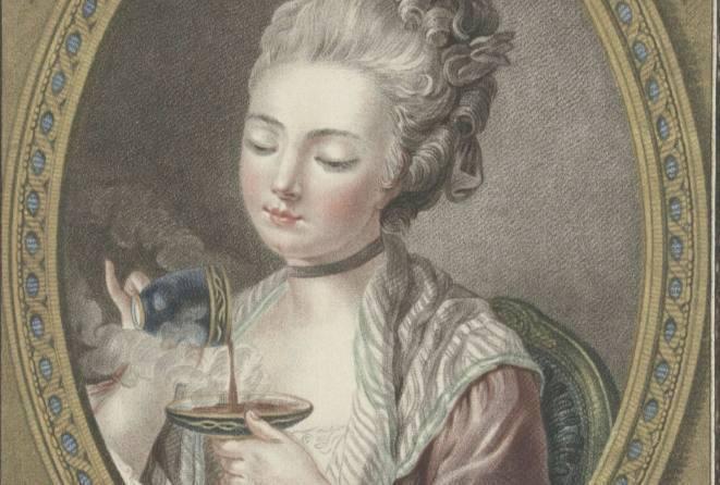 Buste van een jonge vrouw die koffie drinkt, Louis Marin Bonnet, 1774 (Rijksmuseum)