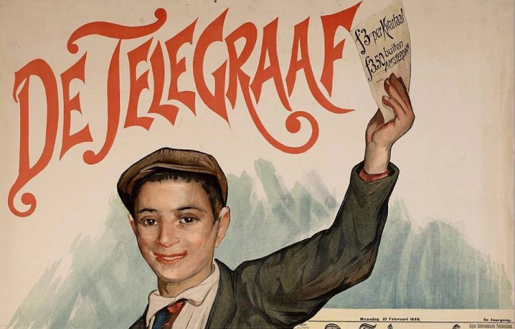 Affiche van De Telegraaf uit 1898