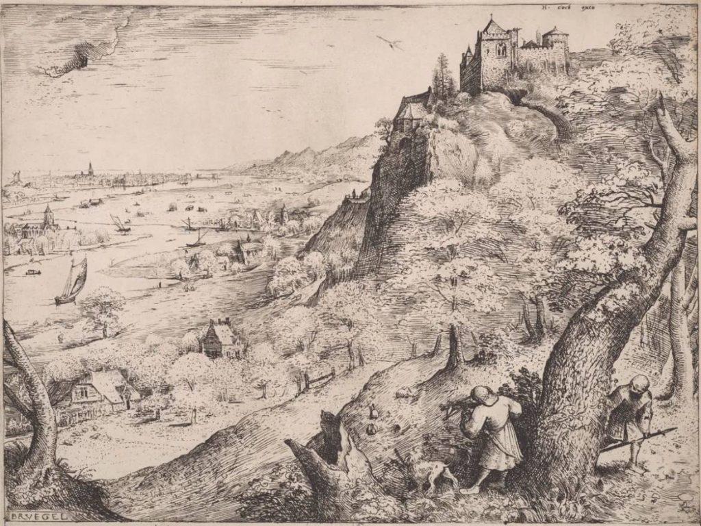 Hieronymus Cock naar Pieter Bruegel - De hazenjacht, 1560