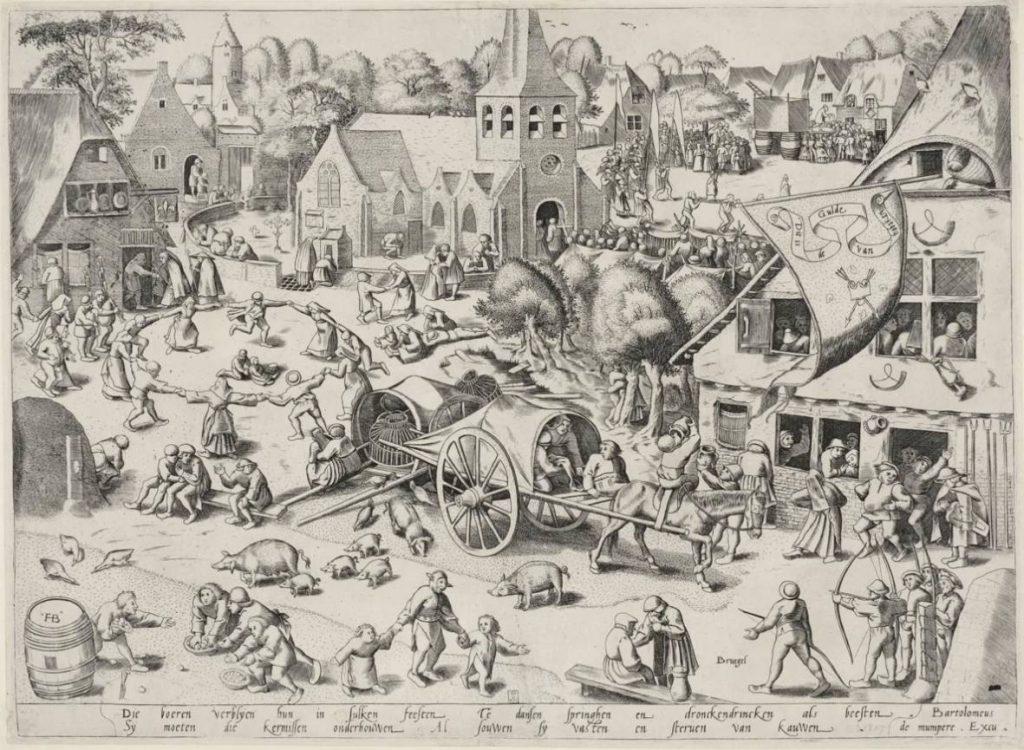 Frans Hogenberg naar Pieter Bruegel - De kermis van Hoboken, 1559