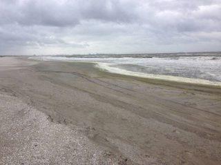 De Zandmotor voor de kust bij Monster