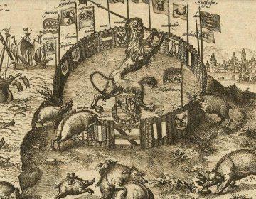 Detail van de tekening 'Houdt op in mijn tuin te wroeten Spaanse varkens!', 1578 - 1582 (Rijksmuseum)