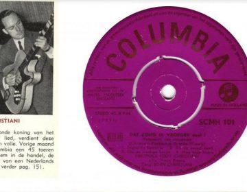 Het eerste singeltje van een Nederlandse 'artist', Eddy Christiani, deze maand precies 65 jaar geleden. (Foto: JEA)
