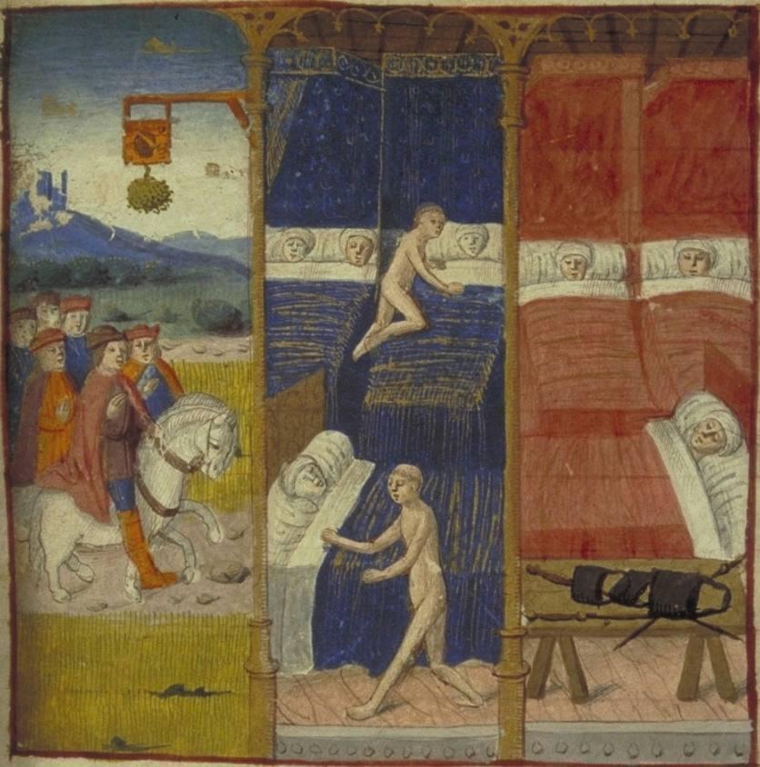 Miniatuur uit het enige bewaard gebleven handschrift van 'Les Cent Nouvelles nouvelles' in de bibliotheek van de Universiteit van Glasgow. Hierop is de geschiedenis van de echtparen afgebeeld.