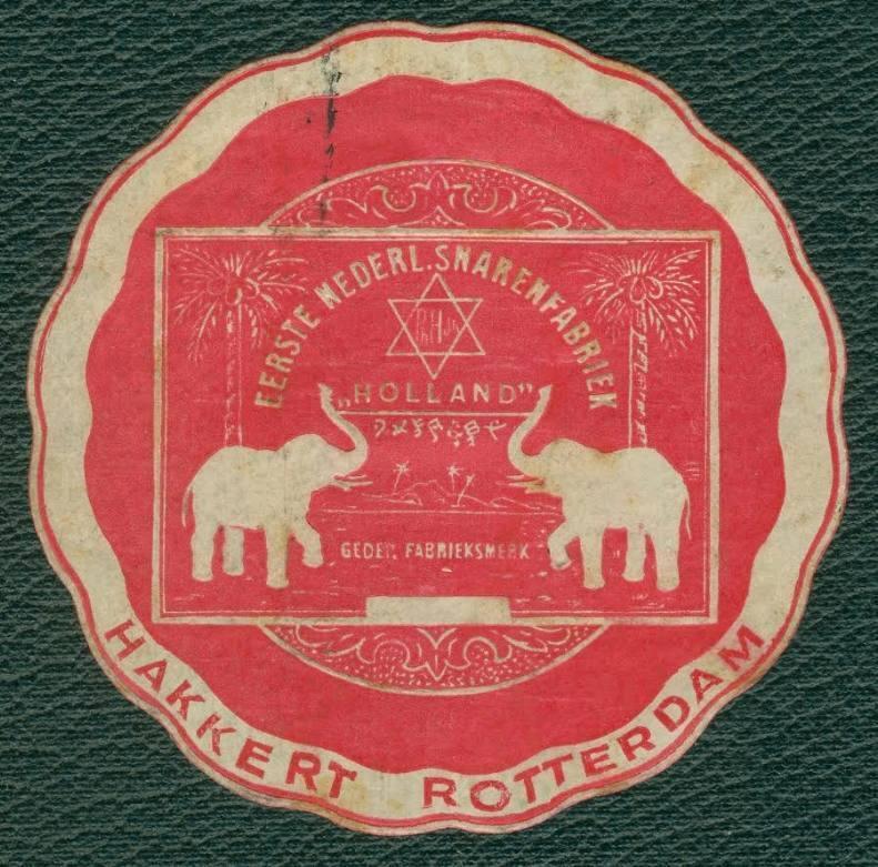 Het logo van de Hakkert snarenfabriek