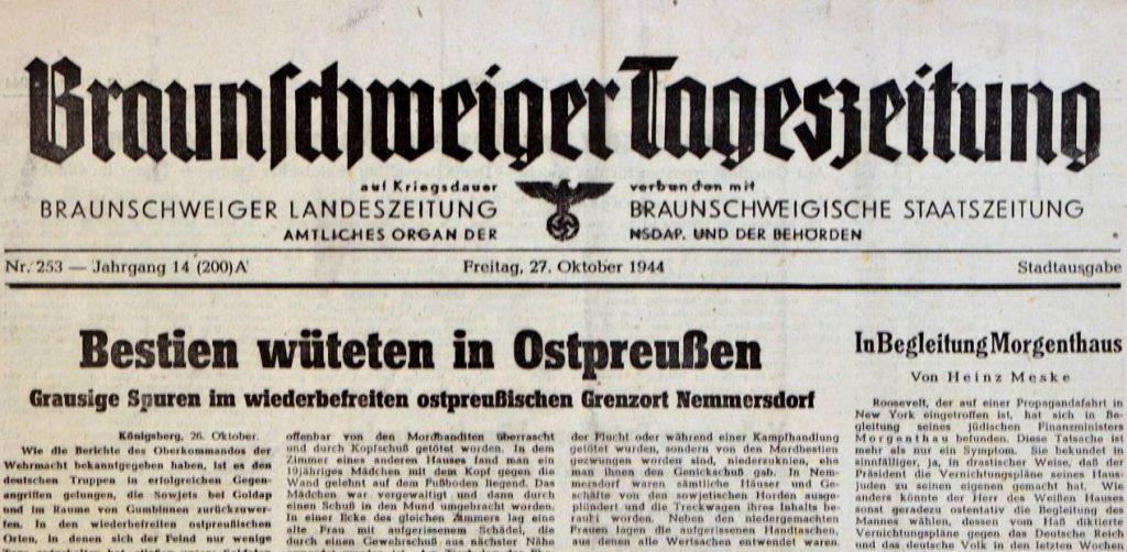 Bericht over het bloedbad in de Braunschweiger Tageszeitung van 27oktober 1944