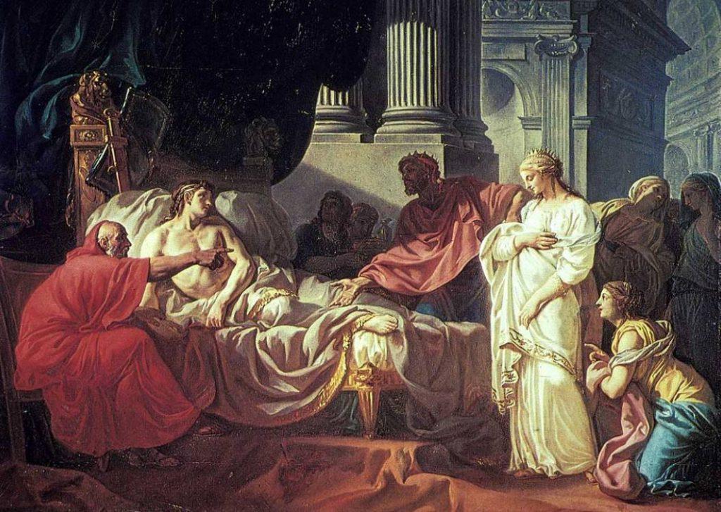 Erasistratus ontdekt de oorzaak van de ziekte van Antiochus. Schilderij door Jacques-Louis David (1774)