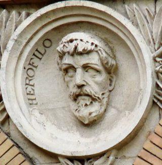 Herophilos van Chalcedon - Reliëf bij de Universiteit van Saragossa