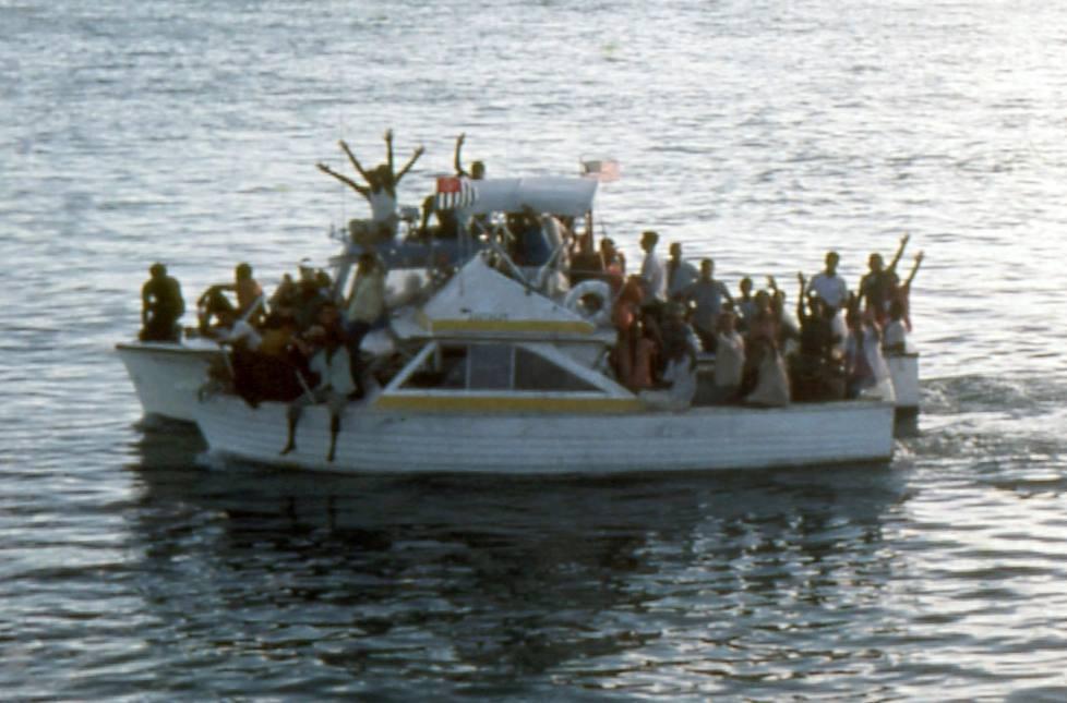 Twee overvolle boten tijdens de Mariel-exodus