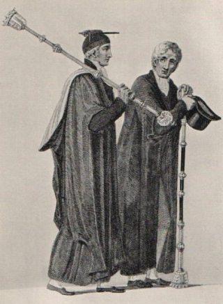 Gravure uit 1815 van twee pedels van de Universiteit van Cambridge.