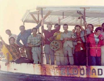 Mariel-exodus - Cubaanse bootvluchtelingen op een overvolle boot bij aankomst in Key West