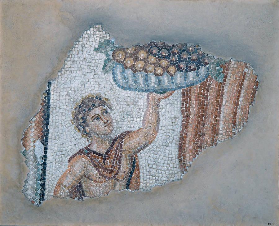 Mozaïek met fruitdrager, Romeins, 2de eeuw na Chr., h. 47,5 cm. x br. 58 cm., uit Lambousa - Collectie Cyprus Museum, Nicosia