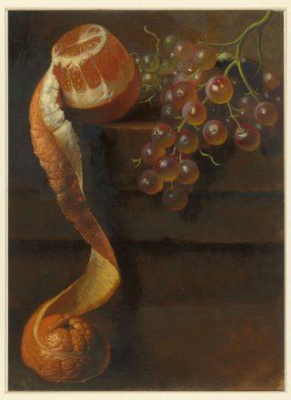 Stilleven met geschilde sinaasappel en druiventros, Albertus Steenbergen, 1824 - 1900 (Rijksmuseum)