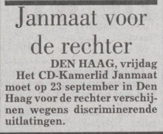 Bericht in de Telegraaf van 23 juli 1993 over een zaak tegen Janmaat