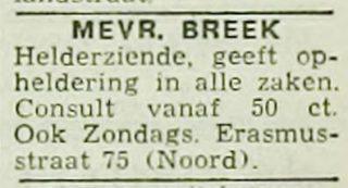 Advertentie van MEvrouw Breek in de Rotterdamsch nieuwsblad van 13-06-1940