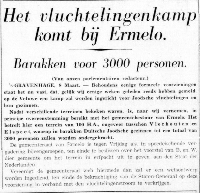 Krantenbericht over de geplande vestiging van het kamp in Ermelo - De Telegraaf, 08-03-1939