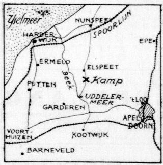 Locatie van het kamp op een kaartje in 'De Telegraaf' van 09 maart 1939  (Delpher)