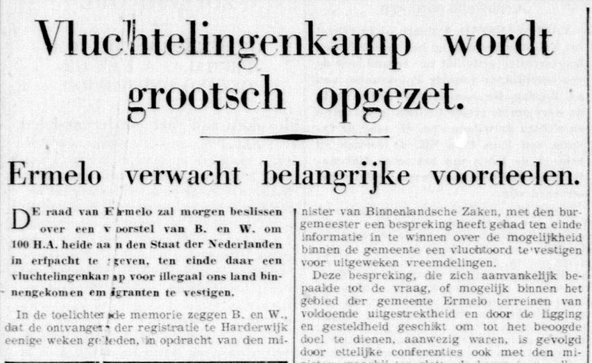Bericht in 'De Telegraaf' van 09 maart 1939 over het opvangkamp in Ermelo