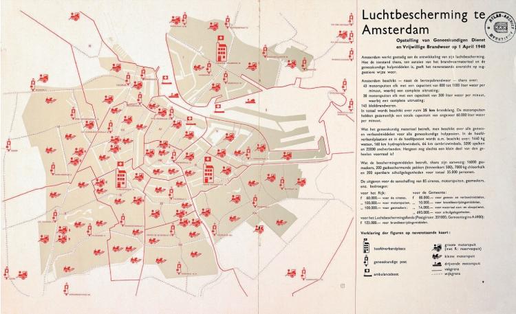 Kaart van de Luchtbescherming in Amsterdam, vervaardigd door Publieke Werken, uitgegeven door het Luchtbeschermingsfonds, april 1940