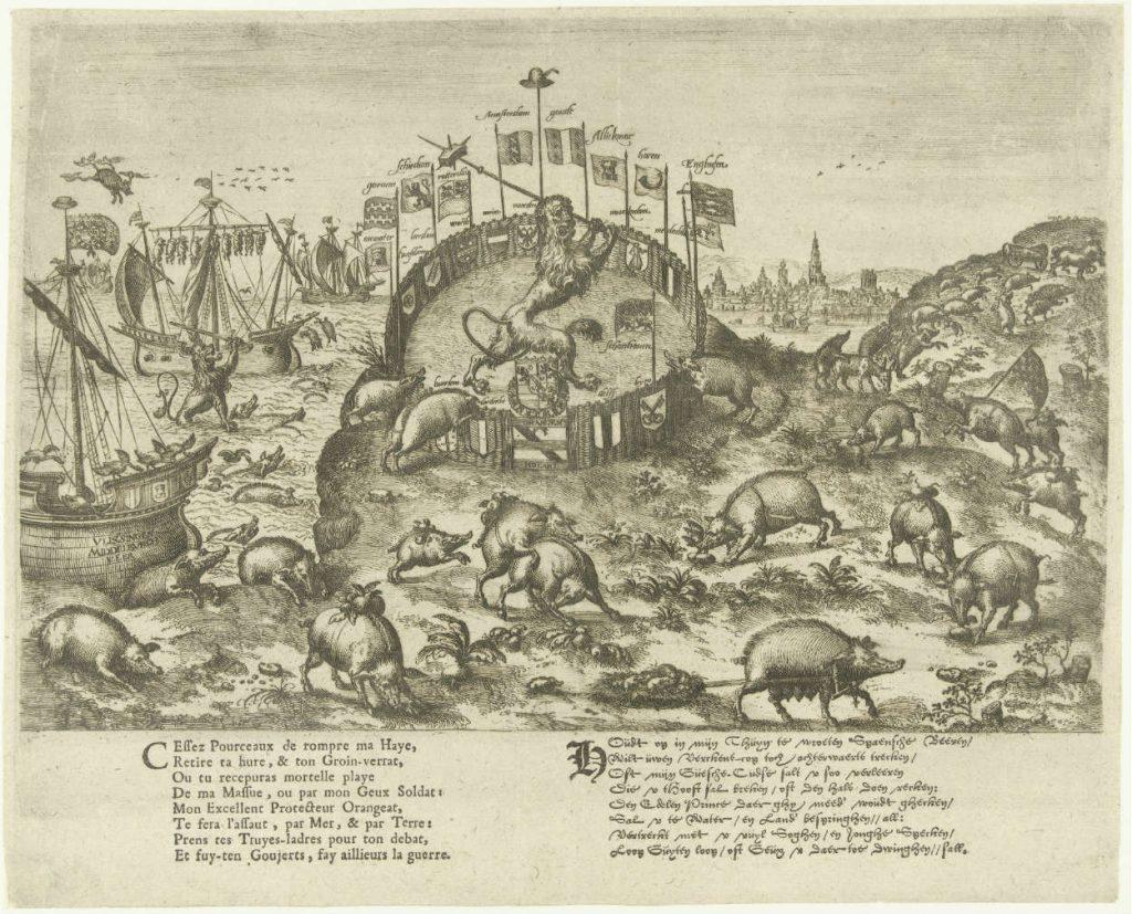 Houdt op in mijn tuin te wroeten Spaanse varkens!, anoniem, 1578 - 1582 (Rijksmuseum)