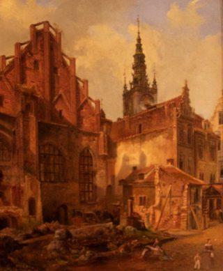 De Artushof in Danzig (Gdansk). | Schildering op karton door Albert Wilhelm Juchanowitz, ca. 1839. Muzeum Narodowe, Gdansk.