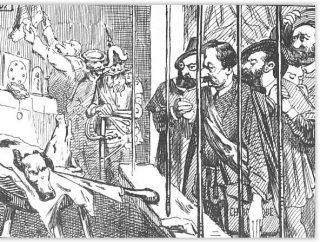 'Eerbetoon aan de afgekapte hoofden' - parodie op de onthoofding van de graven van Egmont en Horn in de 16e eeuw door Louis Ghémar