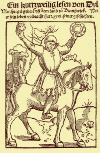 Straatsburgse editie (1515) van Dyl Ulenspiegel, 'gebore vß dem land zu Brunßwick'. | Titelblad met houtsnede van mogelijk Hans Baldung Grien.