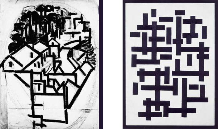 Rechts: Compositie XII in zwart en wit van Theo van Doesburg - Links een voorstudie