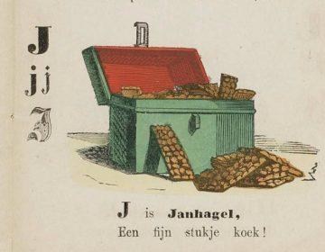 Afbeelding van Janhagel koekjes in 'Smakelijk eten : abc-boekje voor lieve kinderen', 1856