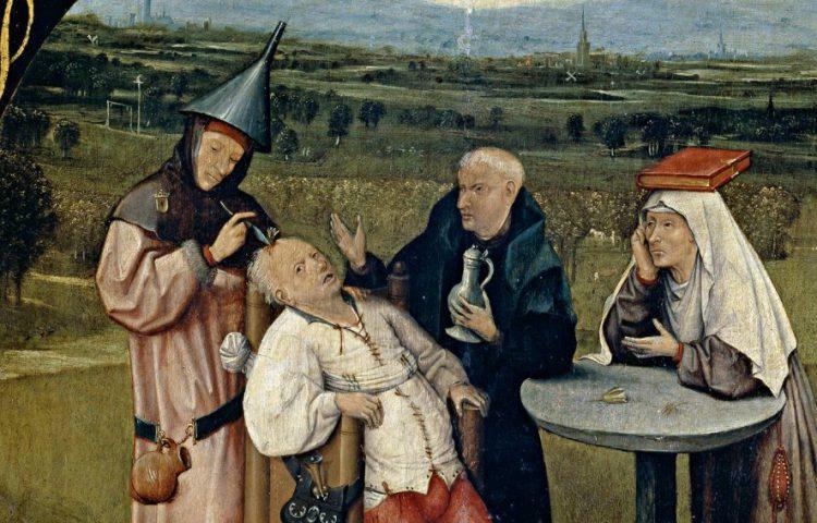 Jheronimus Bosch. De keisnijding, verbeelding van een schedeltrepanatie (c.1488-1516)