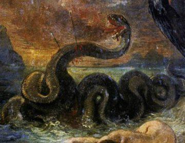 Het mythologische wezen Python op een schilderij van Eugène Delacroix