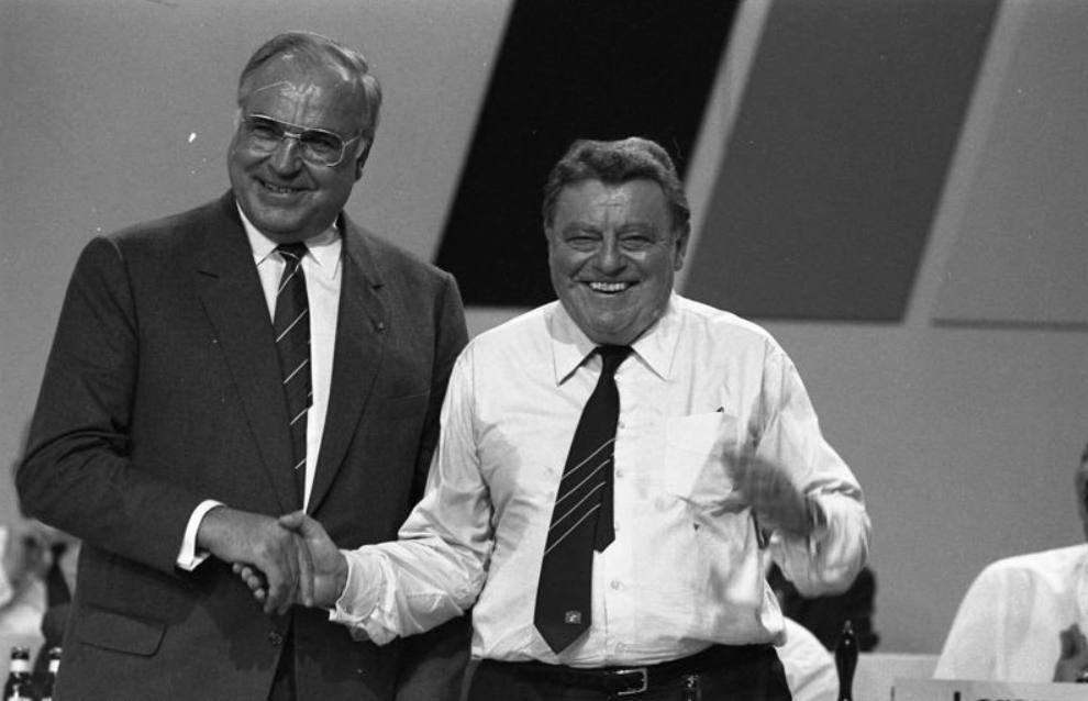 Helmut Kohl en Franz Josef Strauß op een CDU-partijcongres, oktober 1986 in Mainz