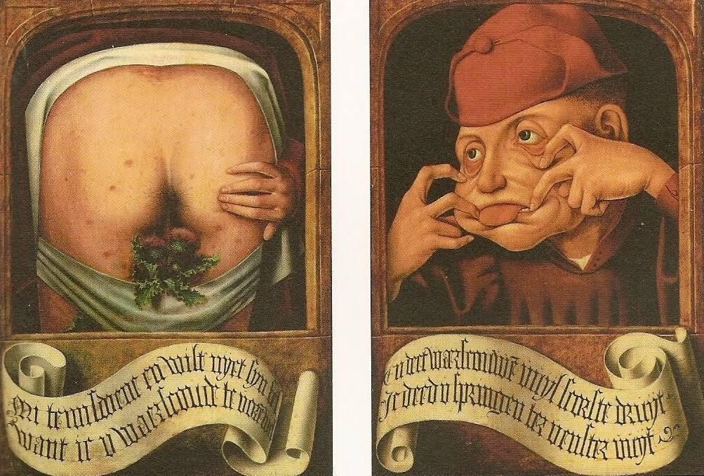 Anoniem, 'Satirische diptiek', begin 16e eeuw, olieverf op hout, 58,5×44 cm, Luik: Bibliothèque Centrale, inv.nr. 12013