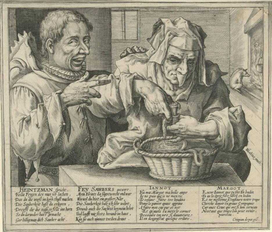 Goltzius gedrukt door Crispijn de Passe, Bloedworstmaakster of allegorie op de hygiene RP-P-1900-A-21960