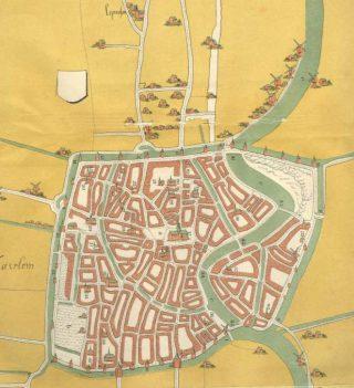 Kaart van Haarlem omstreeks 1550