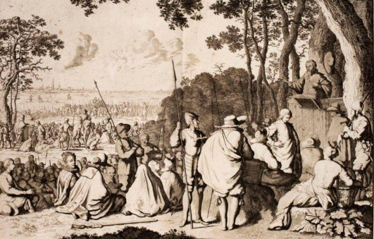 Hagenpreken - Hagenpreek in Oosterweel bij Antwerpen in 1566. Uit P.C. Hooft Nederlandsche historien, 1703