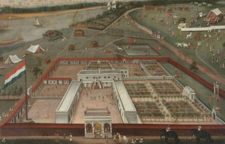 Nederlandse factorij in Hugli-Chuchura, India - Schilderij van Hendrik van Schuylenburgh