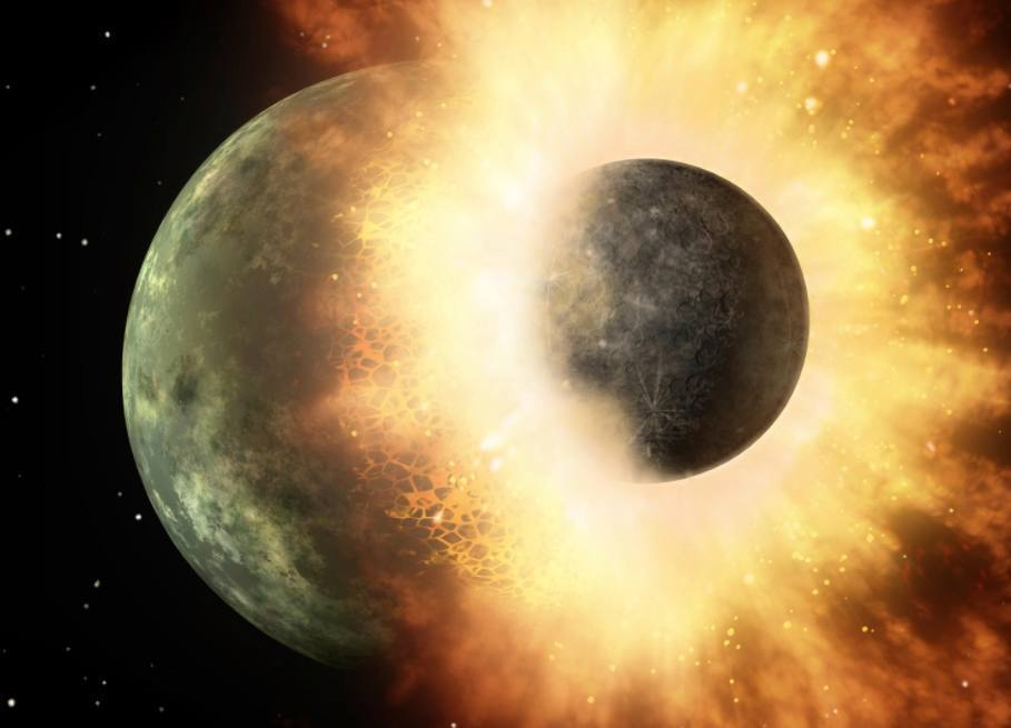 Artistieke voorstelling van de impact van botsingen van planeten als Theia en de aarde.