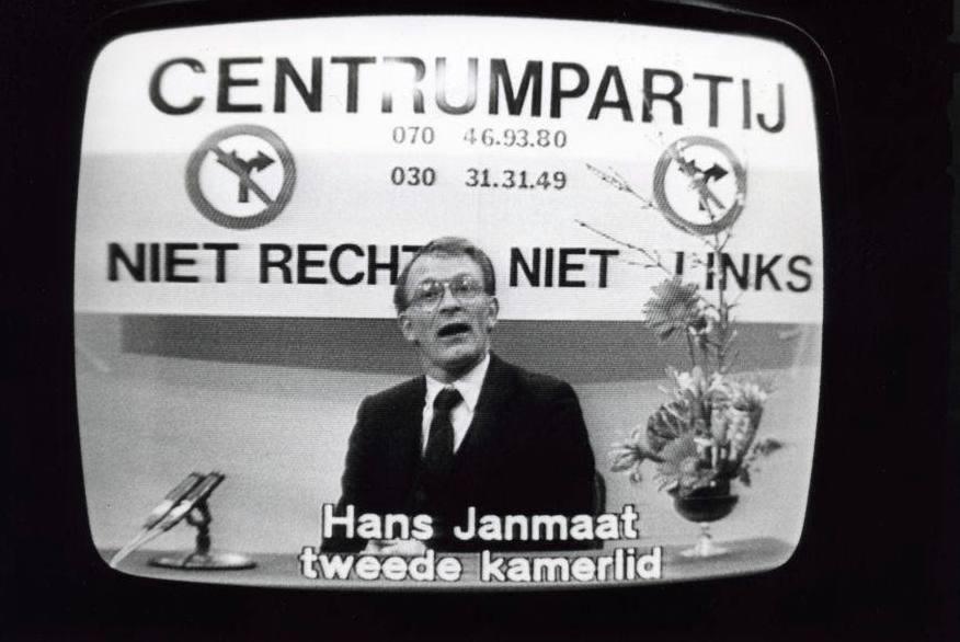 Hans Janmaat (CP) in de zendtijd voor politieke partijen, februari 1984