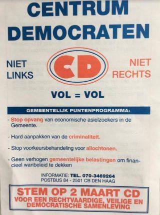 Folder Centrumdemocraten voor de gemeenteraadsverkiezingen, maart 1994