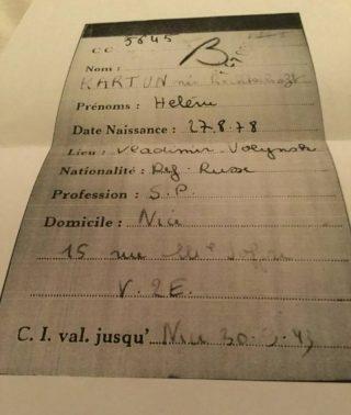 Document met daarop de naam van Hélène Kartun
