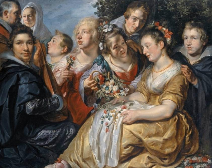 Jacques Jordaens, Zelfportret met de familie Van Noort, ca. 1615-1616, doek,130,5 x 159 cm, Kassel, Museumslandschaft Hessen Kassel.