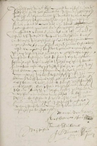 Notariële akte betreffende de transacties van Martinus van Noort aan Jacques Jordaens, 23-11-1648, Den Haag, Haags Gemeentearchief.