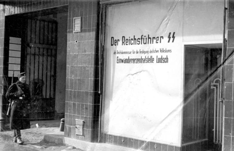 Het kantoor van de Einwandererzenstralstelle in Lódz