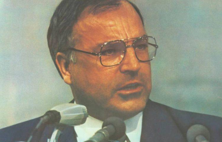 Helmut Kohl op een pamflet uit 1982