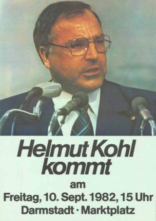 Helmut Kohl op een affiche, 1982