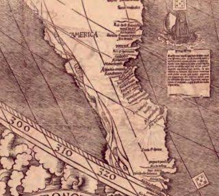 Detail van de kaart van Waldseemüller met de naam 'America'.